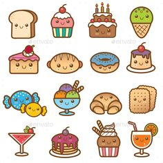 Vector illustration of Dessert Cartoon Collection - Kawaii :-) - Cute Doodle Art, Doodle Art Drawing, Cute Art, Drawing Ideas, Cute Food Drawings, Cute Kawaii Drawings, Cartoon Drawings, Kawaii Doodles, Cute Doodles