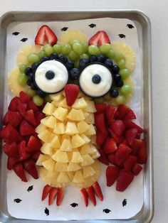Salad and Fruit Choppers. This is such a cute fruit platter in the shape of an owl. Various chopped fruits make u the body of the owl. Two round bowls filled with dips make the owl eyes. So effective and would look great at any party buffet.