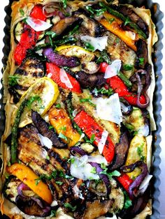 Grilled Vegetable Tart with Phyllo. From 'Proud Italian Cook'. I just loved the colors of this, I will have to go get a tart pan with removable bottom from a Kitchen Store, Love those stores... or I could use parchment paper over the edge and then lift out of a regular pan....