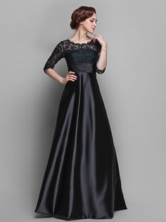 A-line Plus Sizes / Petite Mother of the Bride Dress - Black Sweep/Brush Train Half Sleeve Lace / Stretch Satin - USD $ 89.99