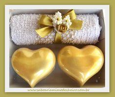 Inspiração #1 - Saboaria para casamento em formato de coração dourado