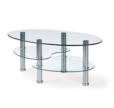T664C Coffee Table   This modern coffee table is finished with chrome hollow tube legs and glass surfaces.