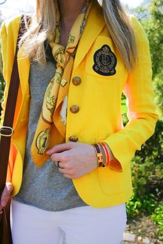hermes scarf, yellow blazer, and white jeans for spring