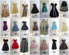 Some of Betty Draper's dresses from Mad Men.