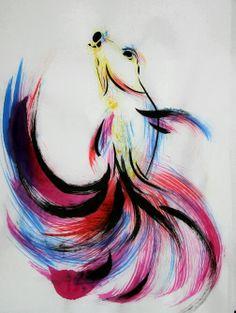 Dancing Fish  Betta Splendens / Siamese Fighting Fish  by yuyuart, $125.00