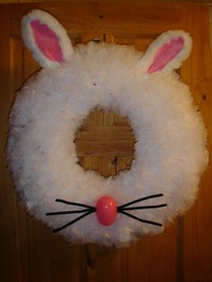 Bunny Wreath made with sandwich bags made from tutorial on youtube by Stephanie Mueth Mylifesahoot