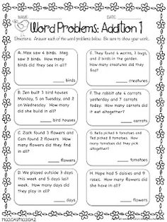 Word Problems: Addition Freebie And other great resources for grade cc Addition Words, Math Addition, Addition Facts, Math Story Problems, Word Problems, Math Resources, Math Activities, Math Worksheets, Addition Worksheets