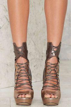 Nasty Gal Metal Me Halfway Leather Heels - Shoes | Do East | Open Toe | Heels