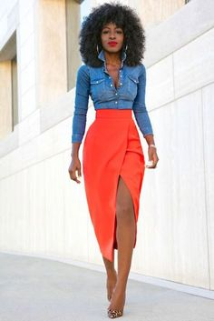 women's fashion and style. lively pencil skirts. orange + denim