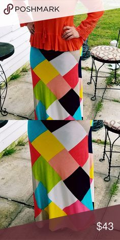 NWT Multi Maxi You will love feeling bright and colorful in the cool, spring/summer colored maxi. Made with Polyester and spandex, helps this skirt to flow with your body. hail3y:23 Skirts Maxi