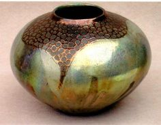 Michael Wein - Raku Pot with Copper Circles, 2010