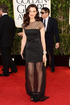 It's a polka dot party for Rachel Weisz in Louis Vuitton, Golden Globes 2013