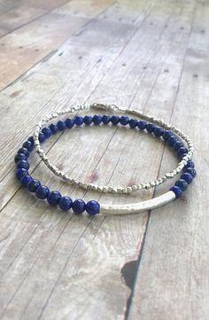 Lapis Lazuli Bracelet, Cobalt Blue Gemstone Bracelet, Genuine Lapis Lazuli Jewelry, Sterling Silver Stretch Bracelet, Natural Stone Jewelry