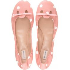 Marc Jacobs Polka-Dot Ballerinas (1 870 SEK) ❤ liked on Polyvore featuring shoes, flats, sapatos, scarpe, pink, women, pink flat shoes, elastic ballet flats, leather ballet flats and ballet flats