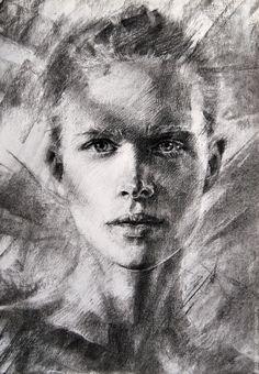 Купить Вижу - серый, портрет на заказ, портрет по фотографии, рисунок, портрет в подарок, подарок девушке