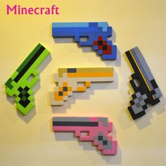 Minecraft Sword, Minecraft Toys, Minecraft Party, Minecraft Action Figures, Outdoor Toys For Kids, Outdoor Play, Hama Beads Design, Game Props, Perler Beads