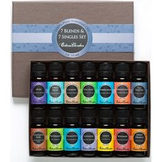 """Our top seller! Get the best of both worlds with this starter collection of our top 7 single essential oils and top 7 essential oil synergy blends. This was my first """"set"""". I had used a few oils before but this set really for me excited about oils!"""