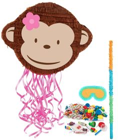 Pink Mod Monkey Pinata Kit from BirthdayExpress.com