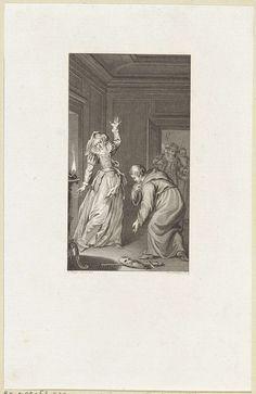 Reinier Vinkeles | Man in een monnikspij buigt voor een vrouw, Reinier Vinkeles, 1800 - 1816 | In een vertrek buigt een man met een monnikspij voor een vrouw die haar arm heeft opgeheven. Op de grond liggen een masker en een zwaard. In de deuropening staan twee mannen.