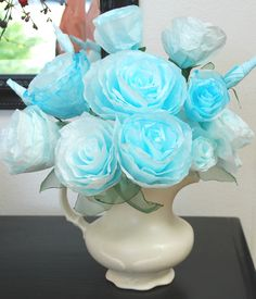 Tutorial for making paper roses out of coffee filters