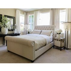 Share and Save $5 Off Any Order Over $99. (excludes a few products) Elements Fine Home Tribeca Roll California King Bed w/ Footboard in Seashell Fabric #dynamichome
