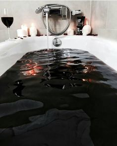 Shared by glamghoul. Find images and videos about black, dark and gothic on We Heart It - the app to get lost in what you love. Gothic Bathroom, Gothic Room, Gothic House, Gothic Living Rooms, Gothic Art, Goth Home Decor, Ritual Bath, Relaxing Bath, Metal Girl