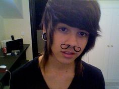 Haha! Mustache, septum jewelry.