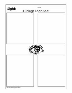"We go on a ""nature walk"" and have them draw things they can ""see."" My Sight Sense Worksheets"