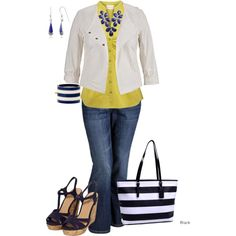"""""""Plus size Striped Navy"""" by penny-martin on Polyvore"""