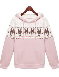 Shop Pink Hooded Long Sleeve Tuzki Print Sweatshirt online. Sheinside offers Pink Hooded Long Sleeve Tuzki Print Sweatshirt & more to fit your fashionable needs. Free Shipping Worldwide!