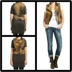 Diesel 'Coline' Brown Leather Vest Size XSmall This is truly a fabulous wardrobe peice! Diesel 'Coline' Suede Leather Vest. Size XSmall. Beautiful Light & dark brown soft supple 100% Genuine Lamb Leather. Made in Turkey. Comes w/ original extra buttons. Only Worn 1 time for twl hours! In flawless condition. Absolutely no defects of any kind. Asymmetrical front zipper closure. Two spey pockets on each side. Adjustable buckle at each hip. Shoulder button straps for added style. Feel free to…
