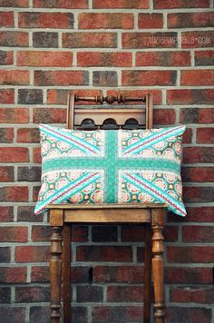 Cutie Union Jack cushion. #dreambedroom #countryliving