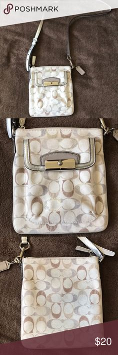 COACH MINI Cross body purse Mini CROSSBODY, USED, a little faded but Good condition, Light creme color w Brown, Grey, Iridescent stitching, Gunmetal colored straps Coach Bags Crossbody Bags