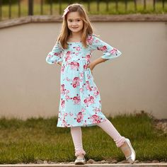 Girls Aqua Pink Gray Floral Knit Liv Dress – Lolly Wolly Doodle