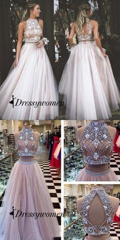 two-pieces prom dresses 2016, long prom dresses with white beaded
