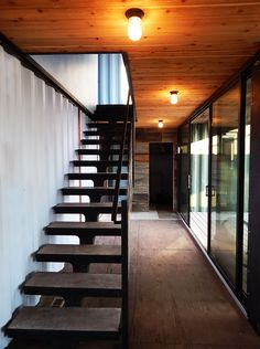 Modern Shipping Container Cabin - Industrial - Staircase - Denver - by Tomecek Studio Architecture Container Van House, Building A Container Home, Container Buildings, Storage Container Homes, Container Architecture, Container House Design, Sustainable Architecture, Cargo Container, Sea Container Homes