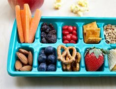 toddlers snack all day long.  great snacking tray to make sure they eat healthy and the right amount all day long.  they can eat in any order so they get to make the choice and you can prepare it each morning for the day