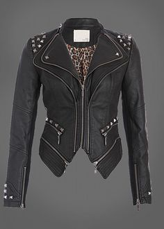 Pretty Attitude Rocking Cool Black Studded Punk Style PU Faux Leather Slim Fit Moto Jacket : Black Label