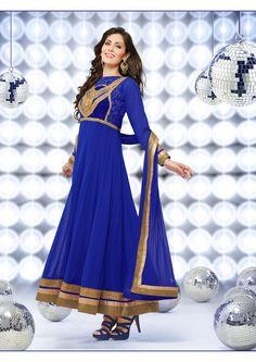 Deep Blue Full Length Anarkali suit