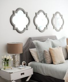 Mirror above bed ideas. Mirror above bed. Clover mirror above bed. Three clover mirrors above headboard bed. Above Bed Decor, Interior, Home Bedroom, Wall Decor Bedroom, Luxurious Bedrooms, Home Decor, Bedroom Wall, Interior Design, Master Bedrooms Decor