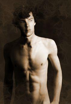 Oh my. Sherlock seems to have lost his sheet. Sheetless Sherlock.