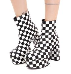 Current Mood One Step Beyond Platform Booties for the heavy heavy monster sound! These sikk af platform boots that have a chunky heel, back zipper closures, and checkerboard print.