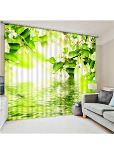 Flowers Water Reflection 3D Window Curtains Mural Blockout Drapes Fabric 2 Panel