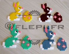 Easter hama beads by flepi design pattern lapins et oeufs by flepi on DeviantArt Melty Bead Patterns, Pearler Bead Patterns, Perler Patterns, Beading Patterns, Jewelry Patterns, Quilt Patterns, Perler Bead Templates, Diy Perler Beads, Perler Bead Art