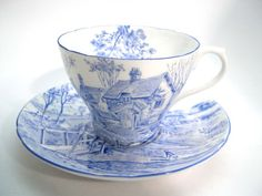 Rare SHELLEY Tea Cup And Saucer, Surrey Scenery in Blue, vintage Shelley Surrey Scenery Tea cup and soucoupe. Tea Cup Set, My Cup Of Tea, Cup And Saucer Set, Tea Cup Saucer, Tea Sets, Style Anglais, Teapots And Cups, Teacups, Vintage Cups