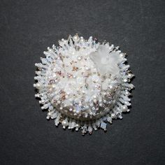 White bead embroidered Ice Flower brooch  EBEG by JirikiDesigns, €65.00