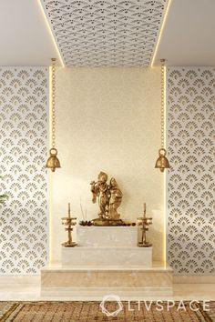 Temple Design For Home, Home Temple, Temple Room, Small House Interior Design, House Design, Pooja Room Door Design, Foyer Design, Types Of Ceilings, Mandir Design