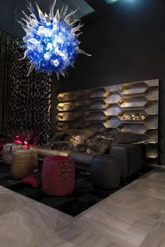A view of the Roberto Cavalli home collection. ~ Designers Show Home Colections at Salone del Mobile WWD Club Lighting, Lighting Store, Lounge Design, Sofa Design, Waiting Room Design, Roberto Cavalli, Interior Decorating, Interior Design, Luxury Interior