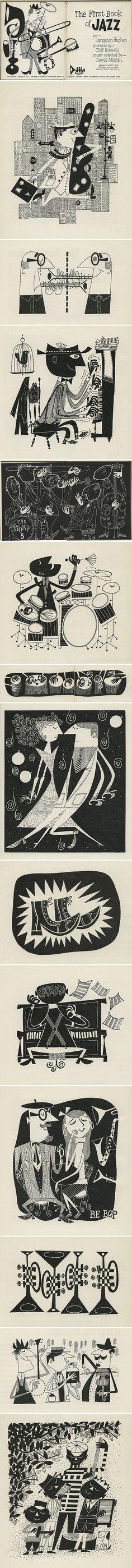 """Book: Ilustraciones por Cliff Roberts de """"El primer libro de Jazz"""" de Langston Hughes, 1955."""