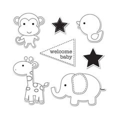 Sizzix - Doodlebug - Framelits Die and Clear Acrylic Stamp Set - Baby Boy